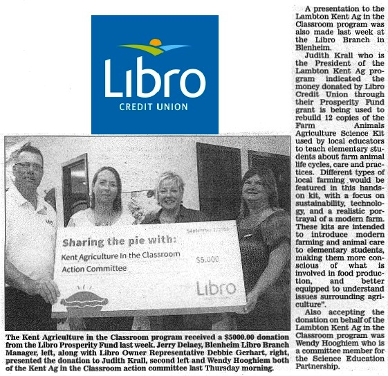 Libro Credit Union fund donation to agriculture in the classroom